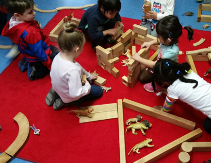 Kids Working With Blocks